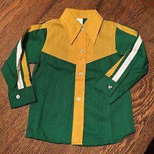 Vtg NWT 60's Boy's Cotton Button Down Cowboy Western Rodeo Shirt Sz 4