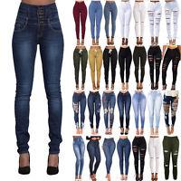 Damen Stretch Jeans Denim Hose Röhrenjeans Zerrissen High Waist Hüfthosen Skinny