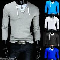 HX Mens Fashion Top Sweaters V-neck Sport Pullovers Casual Long Shirts Hoody