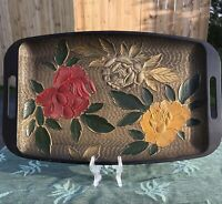 Vintage Shirokiya Handled Serving Tray Embossed Flowers Plastic Japan