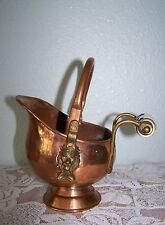 Vintage Copper & Brass Lions Head Coal Ash SCUTTLE BUCKET Delft Porcelain Handle