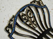 Antique victorian? vintage Spanish Fan dancer Hair Comb Celluloid Blue Crystals