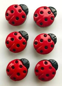 Pack of Six 15mm Ladybird Buttons - Perfect for Your Child and Baby Makes!