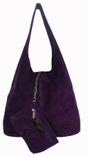 Women's Italian Genuine Real Suede Leather Slouch Ladies Shoulder bag Tote Bag