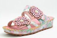 Laura Vita Pantoletten rosa echt Leder Klettverschluss komfort Fußbett Damen