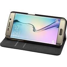 Kunst-Lederhülle für Samsung Galaxy S6 Edge Book-Case schwarz + flexible Folie