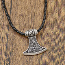 Viking Thor Hammer Necklace Metal Norse Pattern Vintage Man Pendant Accessories