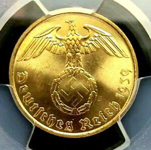 PCGS MS64 Gold Shield-Germany Third Reich 1939A Eagle 5 Reichspfennig Choice BU