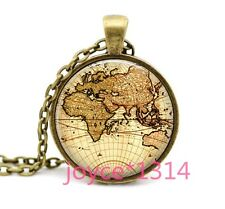 Vintage World map Cabochon Bronze Glass Chain Pendant Necklace #1194