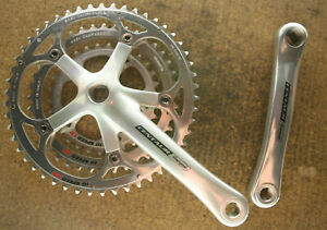 Retro NOS NEW Campagnolo Centaur 10 Speed triple silver cranks crankset chainset