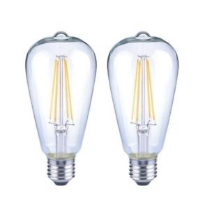 40-Watt ST19 Dimmable Clear Vintage Edison LED Light Bulb, Daylight, 2 Pack