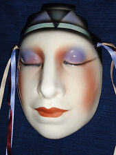 "7.25"" ceramic Art Deco WOMAN'S FACE MASK wall hanging decoration w/ribbons"