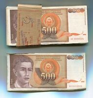 Yugoslavia Bundle of 100 Notes P109 500 Dinara VF Condition 1991 Banknotes