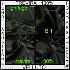 TESSUTO VELLUTO IGNIFUGO B1 NERO TREVIRA TENDA TEATRO fonoassorbente TAPPEZZERIA