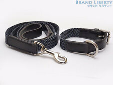 HERMES Pet dog collar Lead set Black Blue Gray