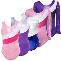 Girls Kids Metallic Sparkly Foil Gymnastics Leotards Stripe Ballet Dance Unitard