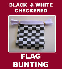 Checkered Flag Bunting 20 Black & White Chequered Polyester String Bunting Flags