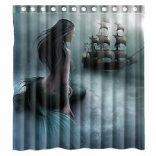 "Mermaid Sailing Ship Waterproof Polyester Fabric Bathroom Shower Curtain 70""X70"