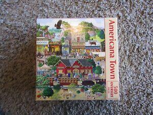 "SunsOut  by Joseph Burgess ""Americana Town"" 500 Oversized Piece Jigsaw Puzzle"