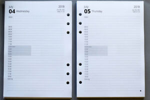 2021- 2022 A5 Organiser Refills | 1 Day per Page Appointments | Fits Filofax