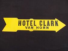 Arrow Sign Vintage Pointing Hand Hotel Clark 1930s to 1940s Tin Metal Road Sign