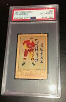 TED LINDSAY SIGNED PARKHURST 1951 RED WINGS ROOKIE CARD #56 PSA/DNA Auto