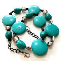 Turquoise Stone Bead Necklace K10