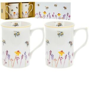 Busy Bees Design Floral Fine China Tea Coffee Set of Two Mugs Boxed