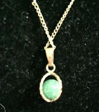 Vintage Aventurine Necklace Green Stone Goldtone Costume Jewelry Accessory 3449