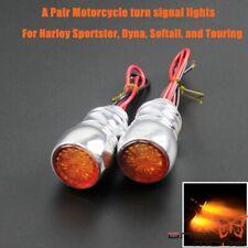 Silver Mini LED Turn Signal Light Amber Bulb Indictor Lamp For Harley Sportster