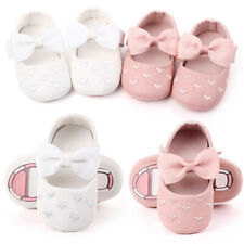 Newborn Baby Girl Crib Pram Shoes Bow Soft Sole First Walkers Shoes Prewalker