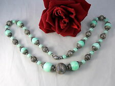 """Beaded 27"""" Necklace Cat Rescue Gorgeous Green Glass & Silver tone"""