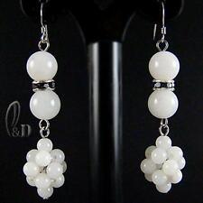 AU SELLER Chic White Genuine Natural Jade Earrings 030663