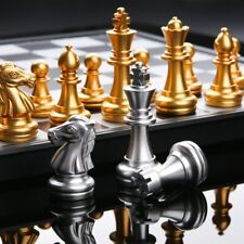 Medieval Chess Set With High Quality Chessboard 32Gold Silver Chess Pieces Board