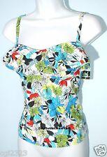 ISLAND ESCAPE Swimsuit Separates Size 6 Ruffles Floral Tankini Top NWT