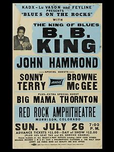 """BB King Red Rock 16"""" x 12"""" Photo Repro Concert Poster"""