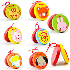 Cartoon Castanets Infant Wooden Musical Toy Instrument Educational Kids ToyEN0