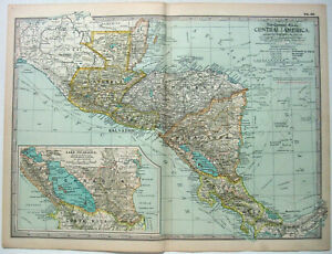 Central America - Original 1897 Map by The Century Company. Antique Map
