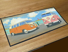 Martin Wiscombe 2 Campers vans on the beach bar runner home bar counter mat
