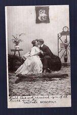 Vintage RPPC MAN WOMAN KISSING ROMANCE MONOPOLY BEAR RUG Real Photo Postcard