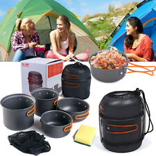 2-3People Outdoor Cooking Set Aluminum Cookware Camping Picnic Nonstick Pot Bowl