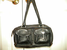 FOSSIL THE AMERICAN CLASSIC  SOFT BLACK PEBBLE LEATHER SATCHEL HANDBAG