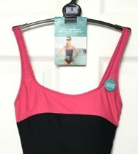M&S Marks s8 Black Pink Sports Secret Slim Longer Length Xtra Life Swimsuit BNWT
