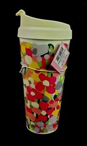 New Kate Spade 16 oz Insulated Tumbler Floral Dot With Lid