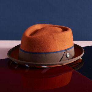 Bruno Mens Womens Wool Felt Jazz Porkpie Pork Pie Brown Black Navy Rust Hat