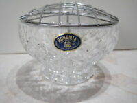 Bohemia Hand Cut Crystal Rose Bowl with metal Frog/Grid perfect condition