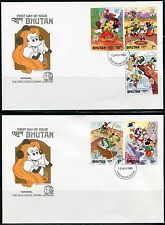 BHUTAN DISNEY MARK TWAIN  SET & S/S MPERFORATES  FIRST DAY COVERS