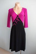 Leona Edmiston Frocks 3/4 Sleeve Bow Front Black & Fuchsia Open Back Dress sz XS