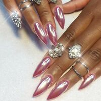 ROSE GOLD NAIL MIRROR CHROME POWDER EFFECT Pigment NAILS Silver Pink Purple