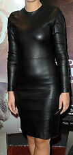 Womens Dress Black Real Leather Evening Cocktail Ladies Dress WD01